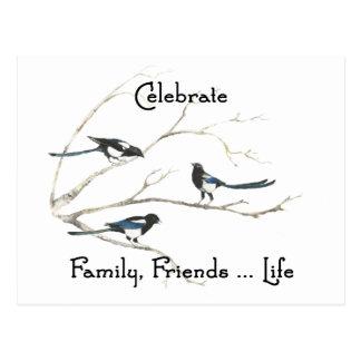 Celebrate Family, Friends Life Magpie Bird Art Postcard