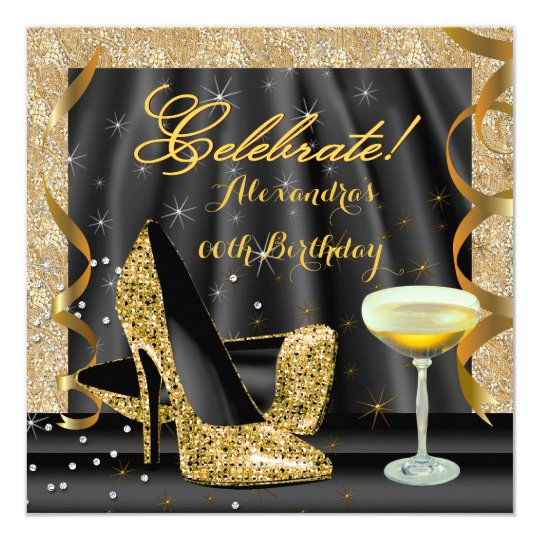 Celebrate Gold Black Glitter Heels Champagne Party Card