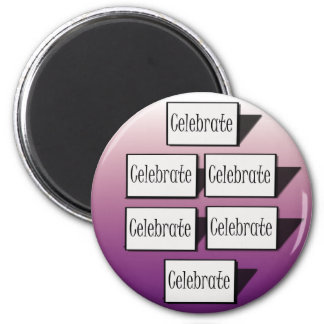 Celebrate in Purple 6 Cm Round Magnet
