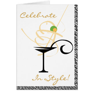 Celebrate In Style Martini Swirl Happy Birthday Card