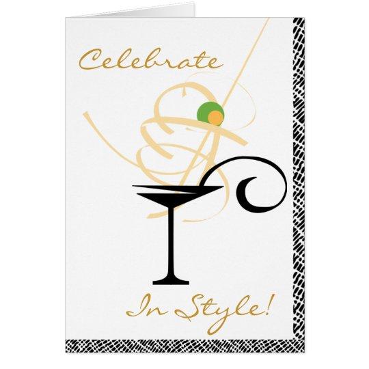 Celebrate In Style Martini Swirl Happy Birthday Card