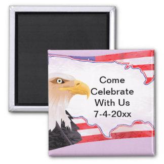 Celebrate Independence Eagle USA Square Magnet