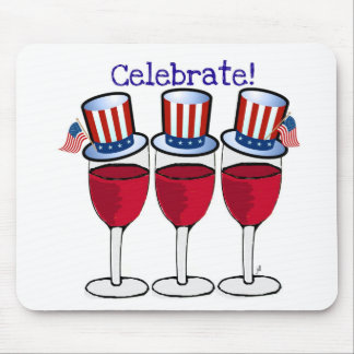 CELEBRATE INDEPENDENCE RED WINE GLASSES PRINT MOUSE PAD
