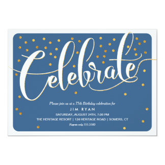 Celebrate Invitation-Classic Script w/Gold Accents 13 Cm X 18 Cm Invitation Card