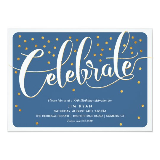 Celebrate Invitation-Classic Script w/Gold Accents Card