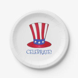 Celebrate July 4th Patriotic Uncle Sam USA America Paper Plate