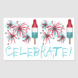 Celebrate! July Fourth 4th USA Fireworks Stickers