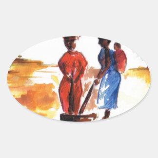Celebrate Kwanzaa, Africa village life Oval Sticker