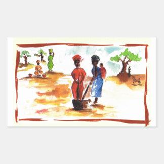 Celebrate Kwanzaa, Africa village life Rectangular Sticker