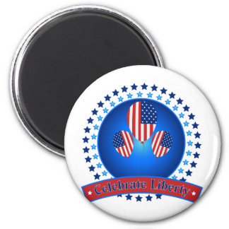 Celebrate Liberty Patriotic America - We Love USA 6 Cm Round Magnet