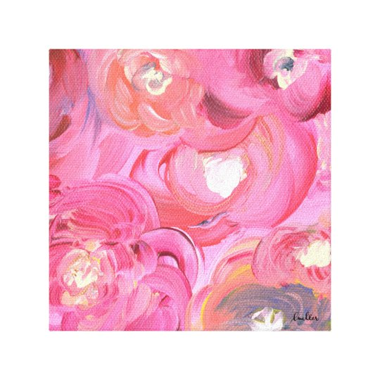 Celebrate Life with Bright, Floral Abstract Roses Canvas