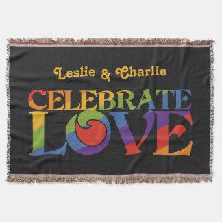 Celebrate Love custom monogram throw blanket