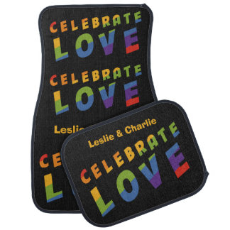 Celebrate Love custom names car floor mats