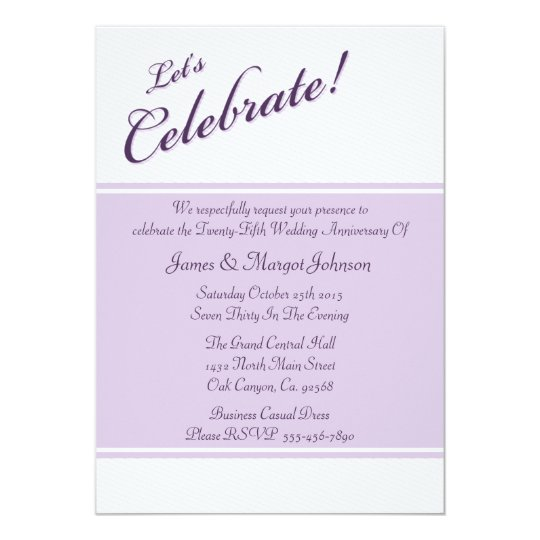 Celebrate Purple 25th Anniversary Party Invitation