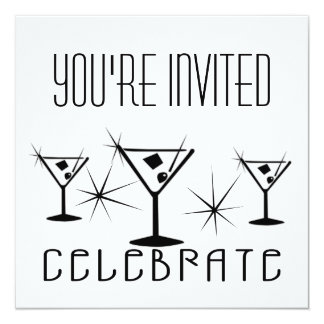 Celebrate - Retro Martinis - Black & White 13 Cm X 13 Cm Square Invitation Card