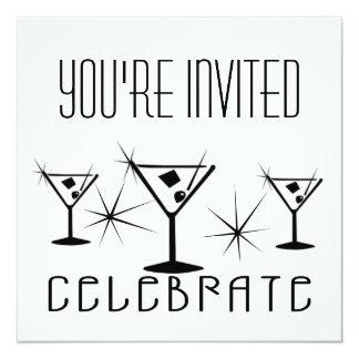 Celebrate - Retro Martinis - Black & White Card