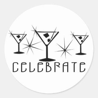 Celebrate - Retro Martinis - Black & White Classic Round Sticker