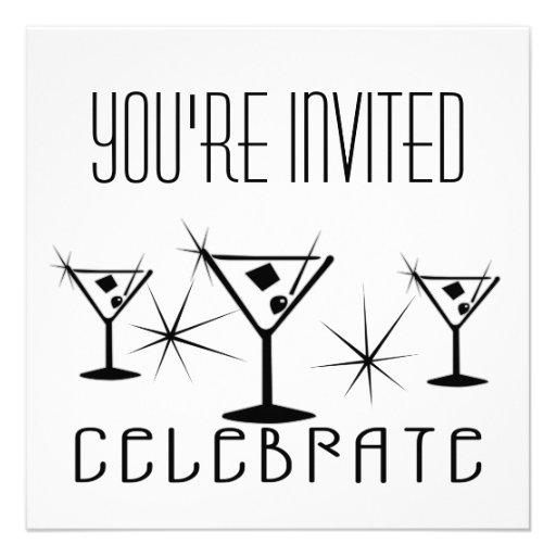 Celebrate - Retro Martinis - Black & White Personalized Announcement