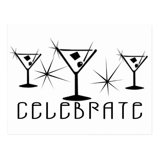 Celebrate - Retro Martinis - Black & White Postcard