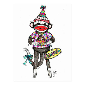 CELEBRATE! Sock Monkey Postcard