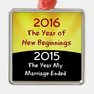 Celebrate the Divorce Silver-Colored Square Decoration