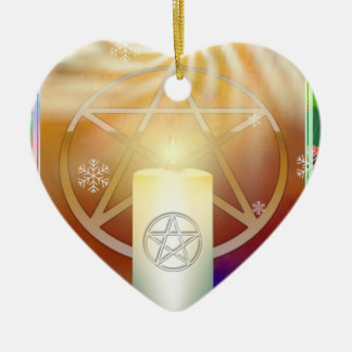 Celebrate the Warmth of the Yule Sun Ceramic Heart Decoration