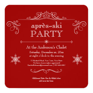 Celebrate Winter Christmas or Après-ski Party 13 Cm X 13 Cm Square Invitation Card
