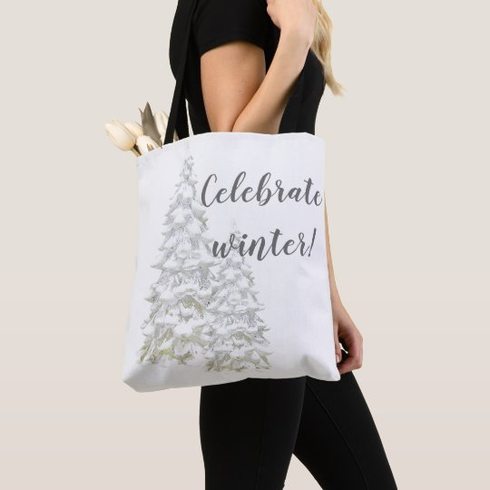 Celebrate Winter Snowy Tree Grocery Book Tote