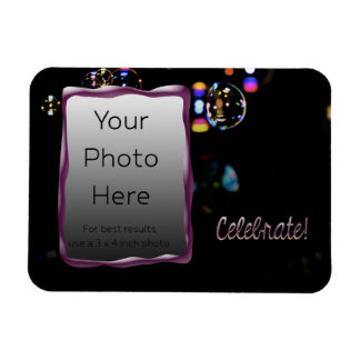 Celebrate! with Bubbles Rectangular Photo Magnet