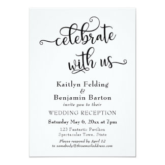 """""""Celebrate with Us"""" Typography Wedding Reception Card"""
