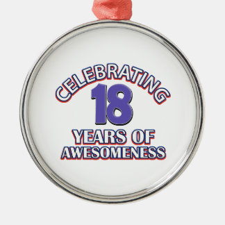Celebrating 18 years of awesomeness Silver-Colored round decoration