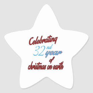 Celebrating 32th year of christmas on earth star sticker