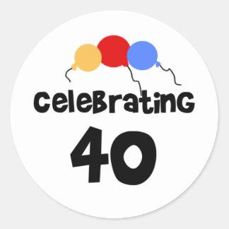 Celebrating 40 round sticker