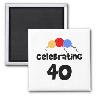 Celebrating 40 square magnet