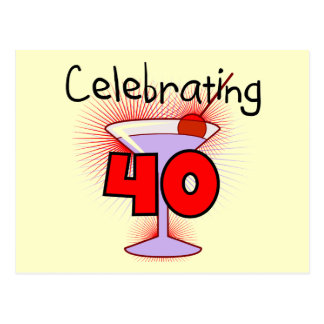 Celebrating 40 Tshirts and Gifts Postcard