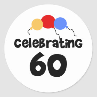 Celebrating 60 round stickers