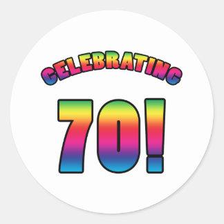 Celebrating 70th Birthday Round Sticker