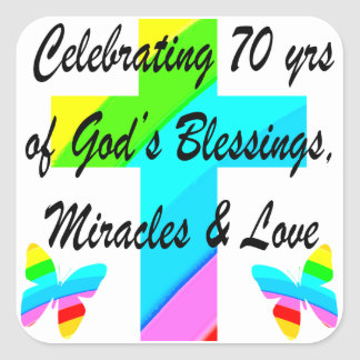 CELEBRATING 70TH BUTTERFLY AND CROSS DESIGN SQUARE STICKER