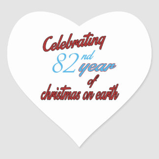 Celebrating 82nd year of christmas on earth heart sticker