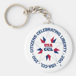 Celebrating America's 250th or CCL Birthday Basic Round Button Key Ring
