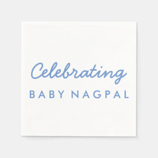 Celebrating Baby Blue and White Cocktail Napkin Disposable Serviette