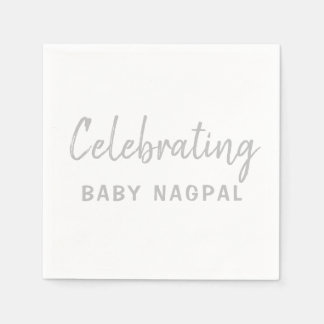 Celebrating Baby Cocktail Napkin Silver and White Paper Serviettes