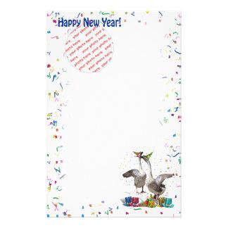 "Celebrating Geese ""Happy New Year' Photo Frame Stationery"