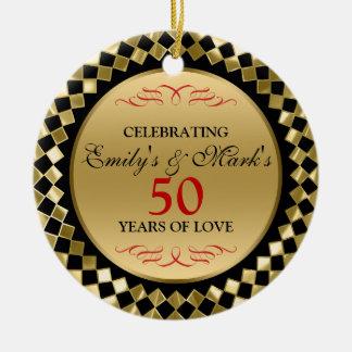 Celebrating- Gold Diamonds And Red Swirls Round Ceramic Decoration