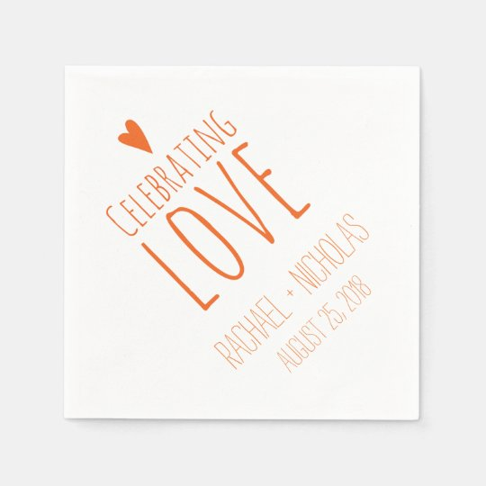 Celebrating Love | Orange Wedding Disposable Napkin