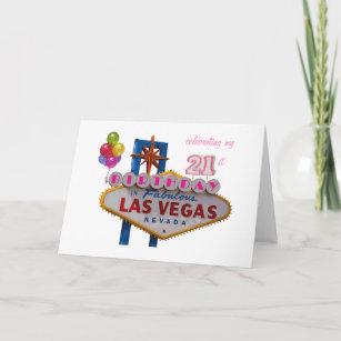 Celebrating My 21st Birthday In Las Vegas Balloons Card