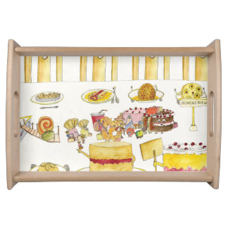Celebrating Pudding Diversity Funny Quirky Art Serving Tray