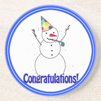 Celebrating Snowman CONGRATULATIONS Coasters