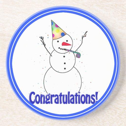 Celebrating Snowman 'CONGRATULATIONS'! Coasters