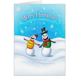 Celebrating Snowman Merry Christmas Card